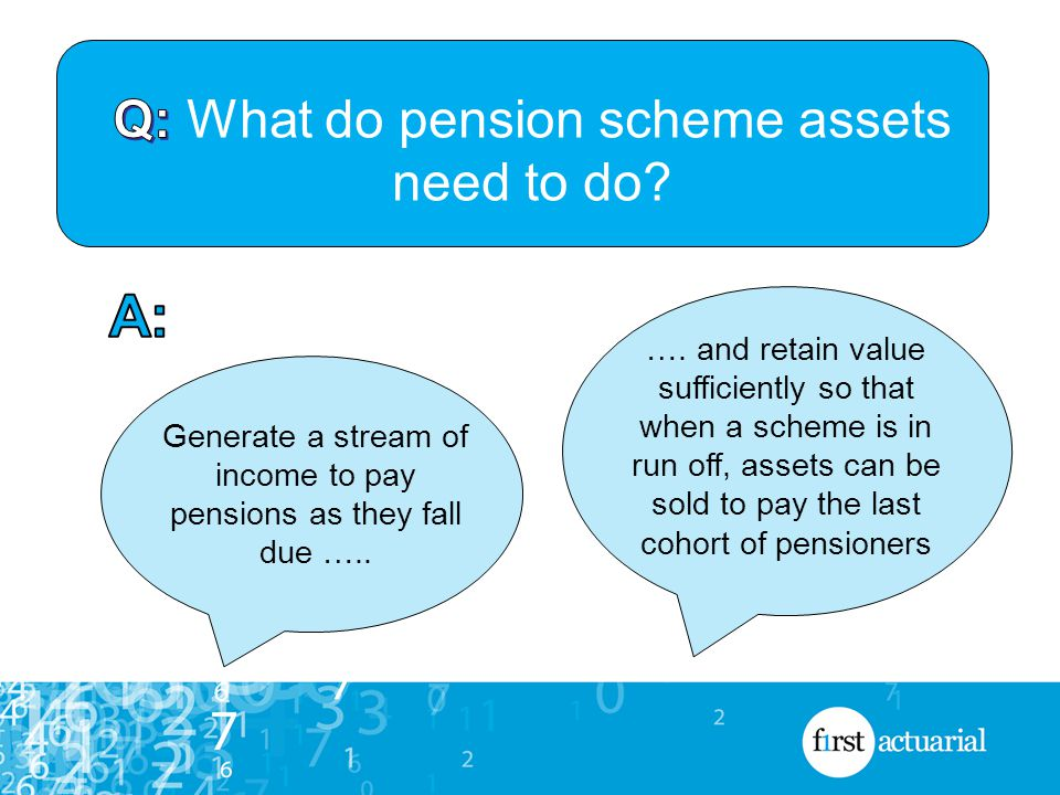 Generate a stream of income to pay pensions as they fall due …..