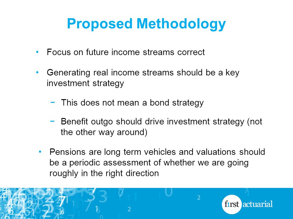 Proposed Methodology Focus on future income streams correct Generating real income streams should be a key investment strategy −This does not mean a bond strategy −Benefit outgo should drive investment strategy (not the other way around) Pensions are long term vehicles and valuations should be a periodic assessment of whether we are going roughly in the right direction