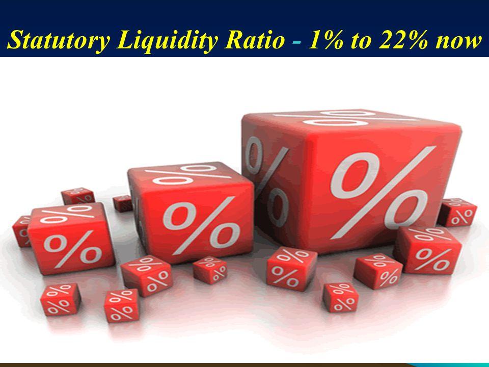 Statutory Liquidity Ratio - 1% to 22% now