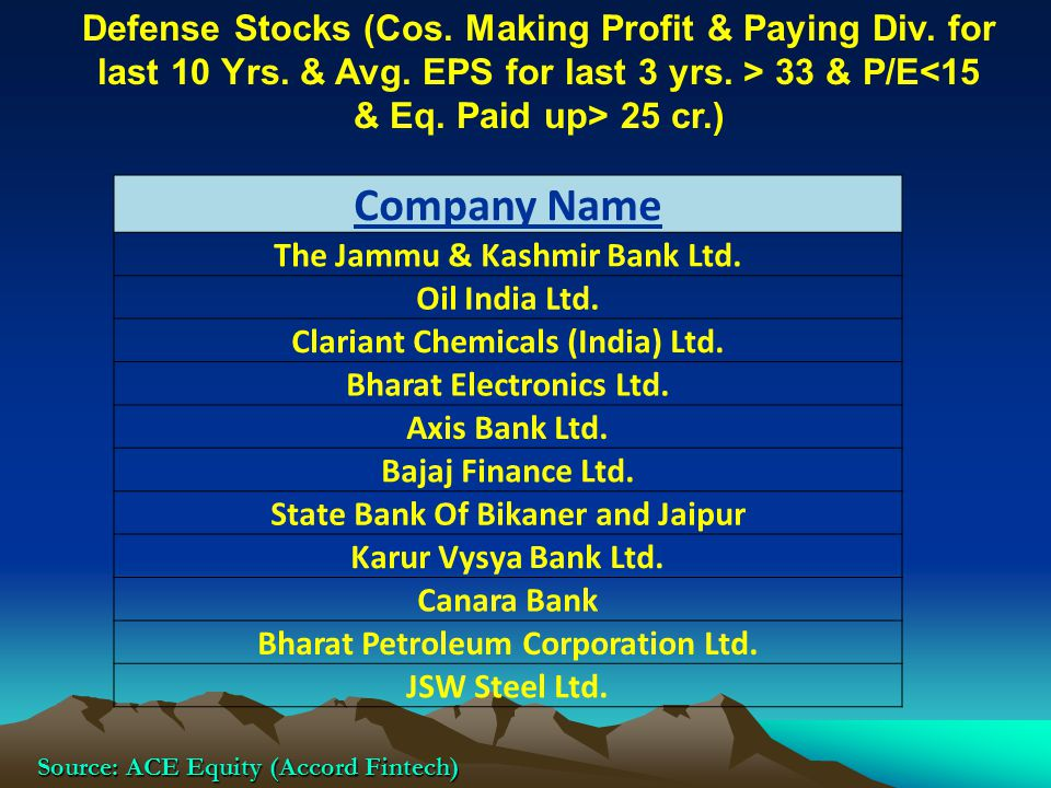Defense Stocks (Cos. Making Profit & Paying Div. for last 10 Yrs. & Avg. EPS for last 3 yrs. > 33 & P/E 25 cr.) Source: ACE Equity (Accord Fintech) Co