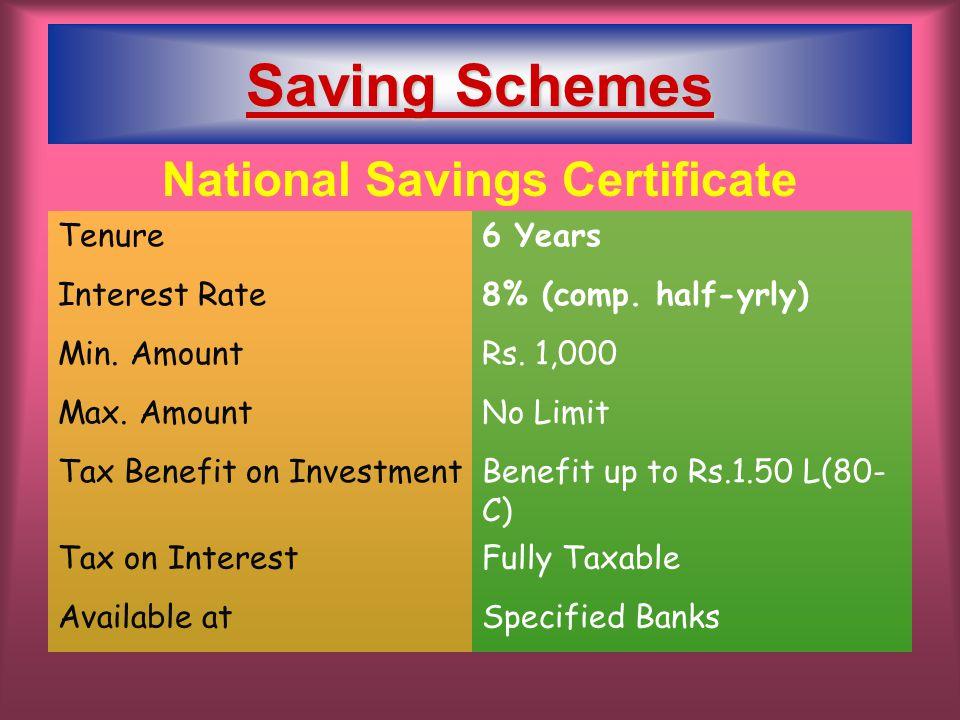 National Savings Certificate Tenure6 Years Interest Rate8% (comp.