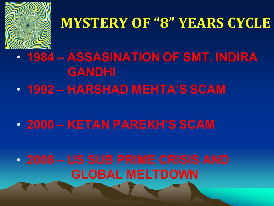 """MYSTERY OF """"8"""" YEARS CYCLE 1984 – ASSASINATION OF SMT. INDIRA GANDHI 1992 – HARSHAD MEHTA'S SCAM 2000 – KETAN PAREKH'S SCAM 2008 – US SUB PRIME CRISIS"""