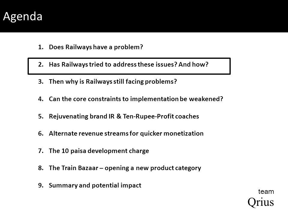 Summary of our recommendations Ten-Rupee-Profit coaches Railway innovation board Aapki har manzil tak aapka saathi – Indian Railways 10 paisa development charge Train Bazaar Charging premium on increased choice