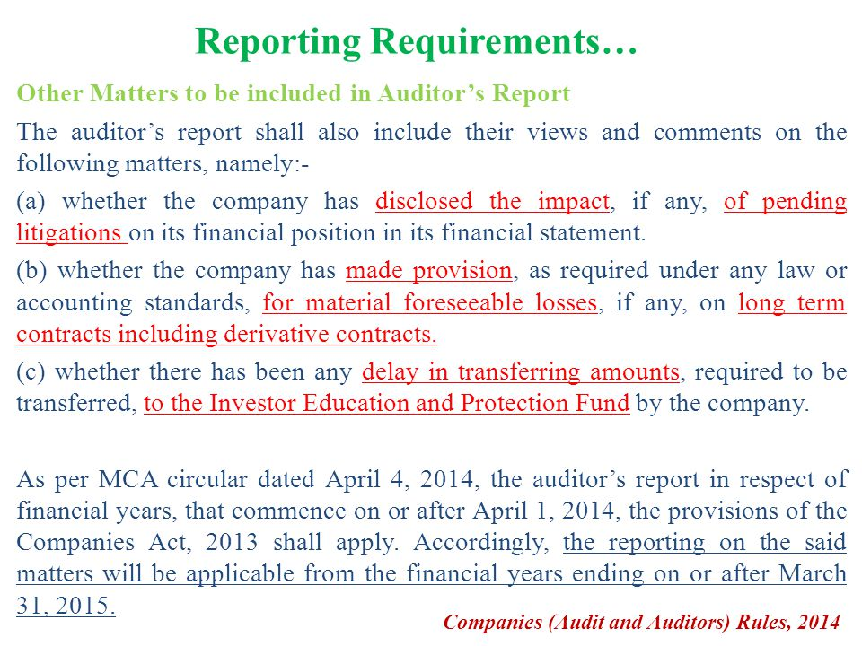 Reporting Requirements… Other Matters to be included in Auditor's Report The auditor's report shall also include their views and comments on the follo