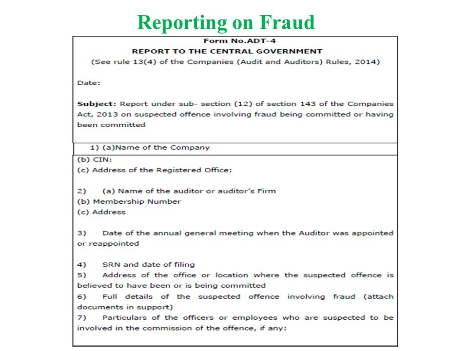 Reporting on Fraud