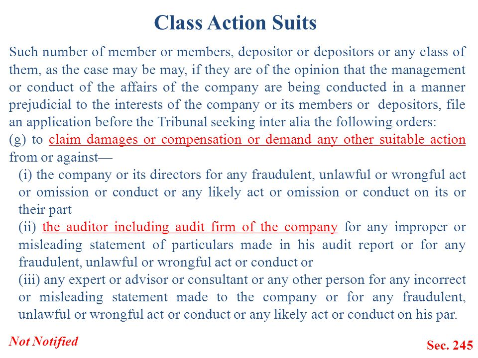 Class Action Suits Such number of member or members, depositor or depositors or any class of them, as the case may be may, if they are of the opinion