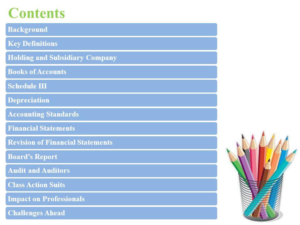 Contents BackgroundKey DefinitionsHolding and Subsidiary CompanyBooks of AccountsSchedule IIIDepreciationAccounting StandardsFinancial StatementsRevis