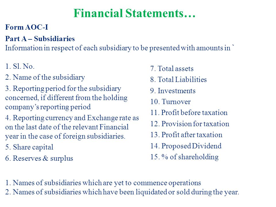 1. Sl. No. 2. Name of the subsidiary 3. Reporting period for the subsidiary concerned, if different from the holding company's reporting period 4. Rep