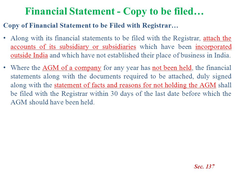 Copy of Financial Statement to be Filed with Registrar… Along with its financial statements to be filed with the Registrar, attach the accounts of its
