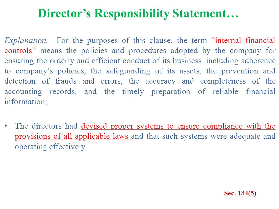 """Director's Responsibility Statement… Sec. 134(5) Explanation.—For the purposes of this clause, the term """"internal financial controls"""" means the polici"""