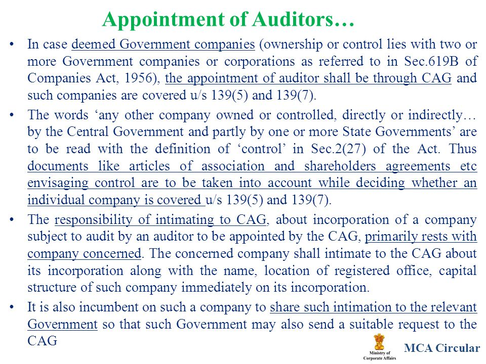 Appointment of Auditors… In case deemed Government companies (ownership or control lies with two or more Government companies or corporations as refer