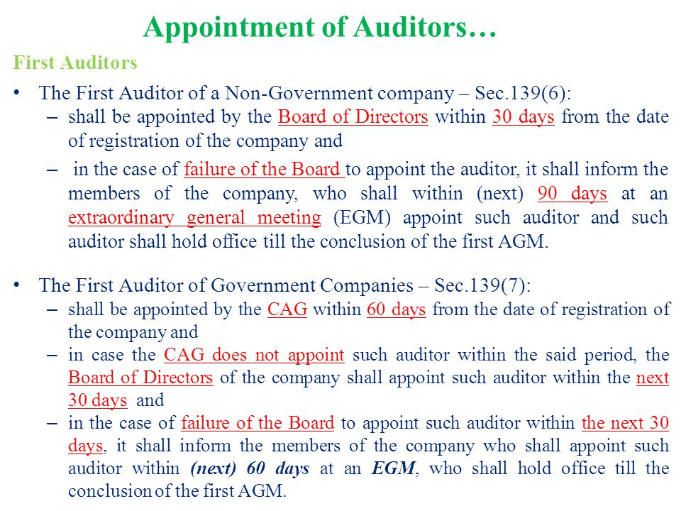 Appointment of Auditors… First Auditors The First Auditor of a Non-Government company – Sec.139(6): – shall be appointed by the Board of Directors wit