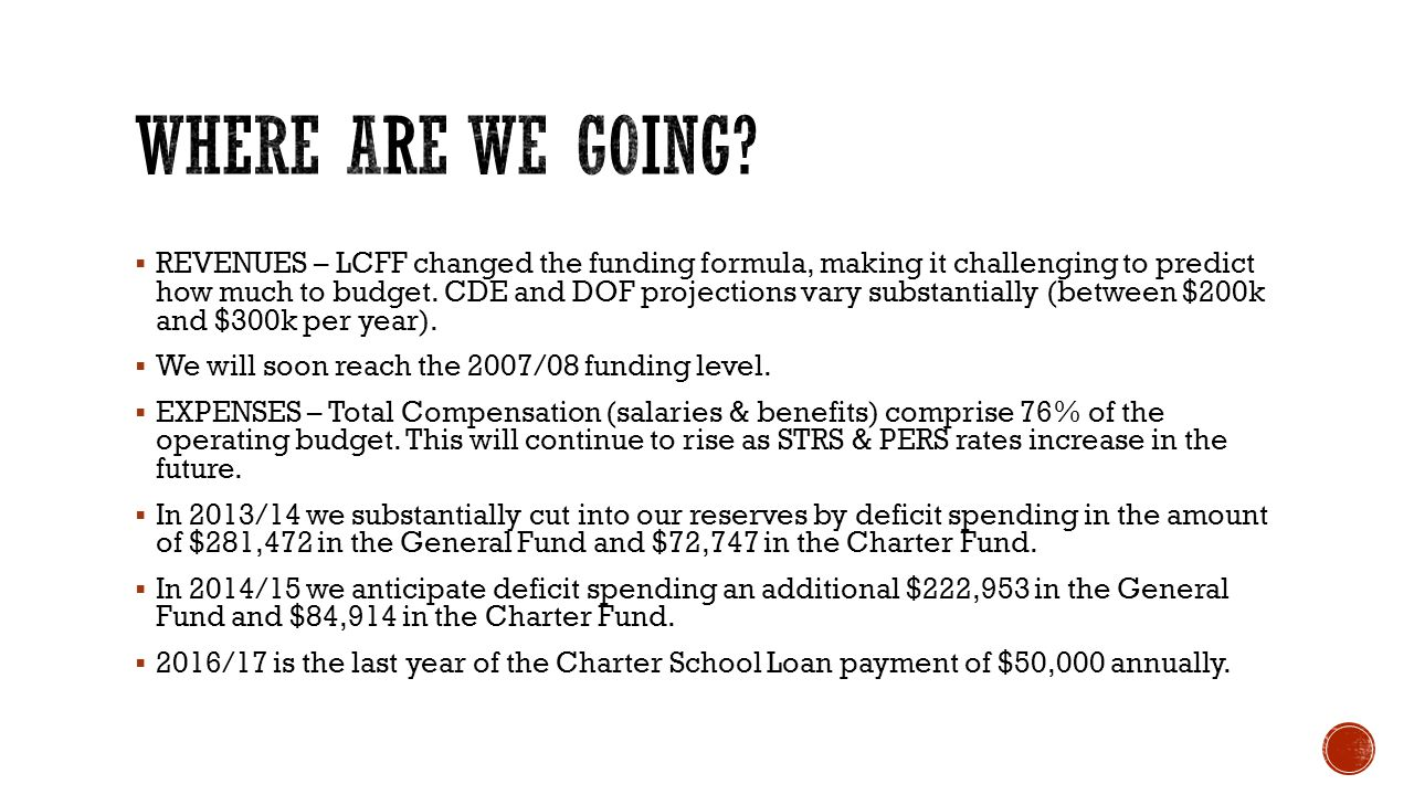  REVENUES – LCFF changed the funding formula, making it challenging to predict how much to budget.