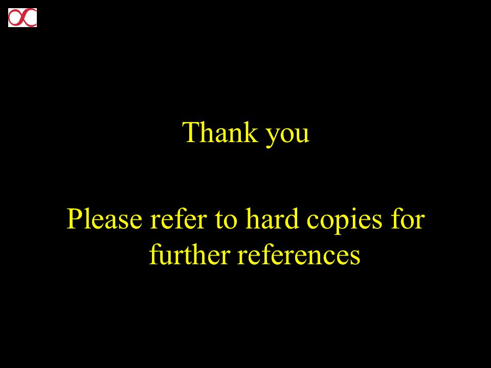 Thank you Please refer to hard copies for further references