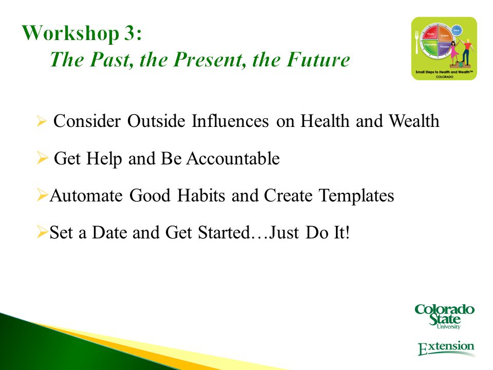 Workshop 3: The Past, the Present, the Future  Consider Outside Influences on Health and Wealth  Get Help and Be Accountable  Automate Good Habits and Create Templates  Set a Date and Get Started…Just Do It!