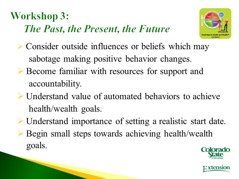 Workshop 3: The Past, the Present, the Future  Consider outside influences or beliefs which may sabotage making positive behavior changes.  Become f