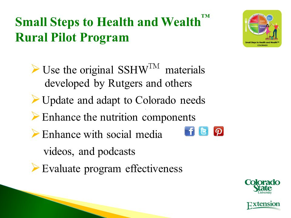  Use the original SSHW TM materials developed by Rutgers and others  Update and adapt to Colorado needs  Enhance the nutrition components  Enhance