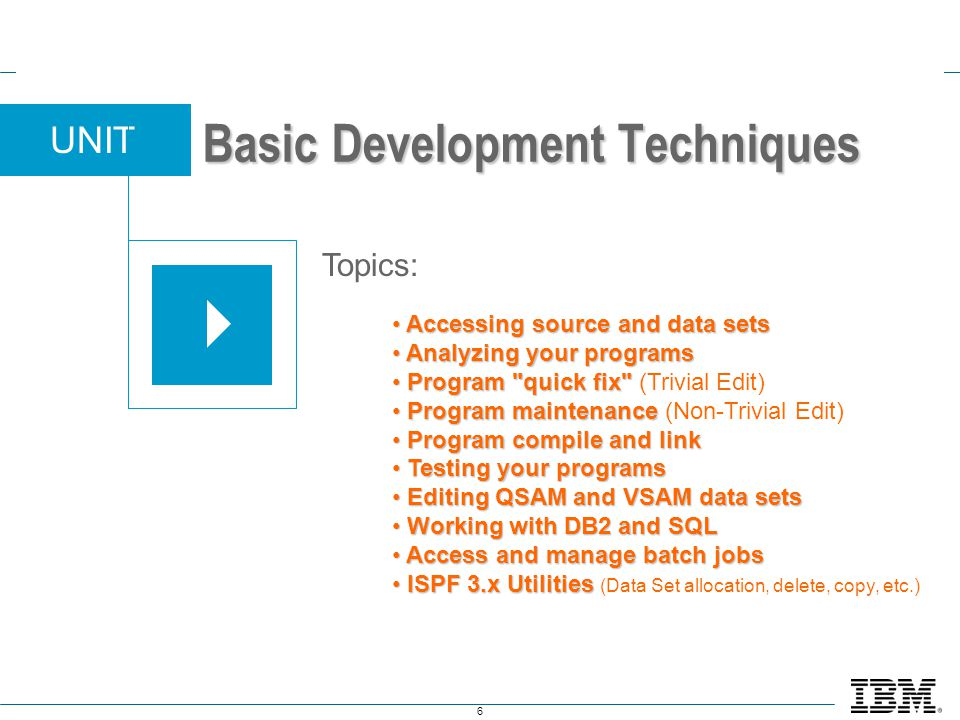 6 UNIT Topics: Basic Development Techniques Accessing source and data sets Accessing source and data sets Analyzing your programs Analyzing your progr