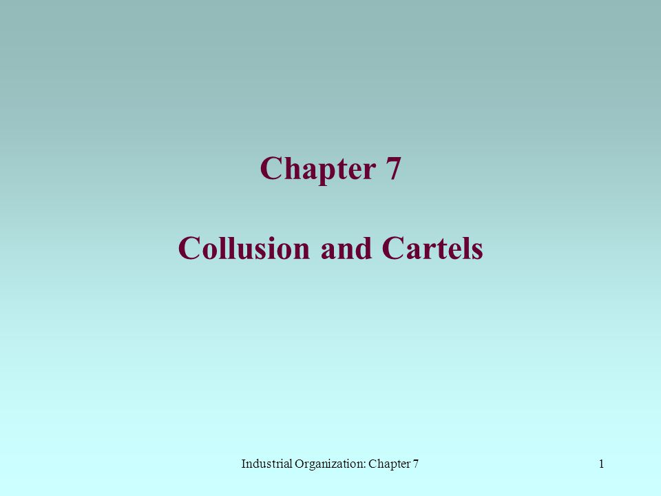Industrial Organization: Chapter 752 The Indistinguishability Theorem  start with a standard Cournot model: C is the non-cooperative equilibrium q2q2 q1q1 R1R1 R2R2  assume that the firms are colluding at M: restricting output C  M can be presented as non- collusive if the firms exaggerate their costs or underestimate demand  this gives the apparent best response functions R' 1 and R' 2 R' 1 R' 2  M now looks like the non- cooperative equilibrium M