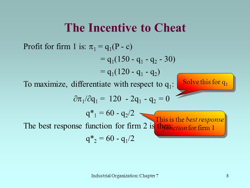 Industrial Organization: Chapter 79 The Incentive to Cheat These best response functions are easily illustrated q2q2 q1q1 q* 1 = 60 - q 2 /2 60 120 q* 2 = 60 - q 1 /2 R2R2 60 Solving these gives the Cournot-Nash outputs: q C 1 = q C 2 = 40 (thousand) 40 C R1R1 The market price is: P C = 150 - 80 = $70 Profit to each firm is:   ==   == (( 70 - 30)x40 = $1.6 million