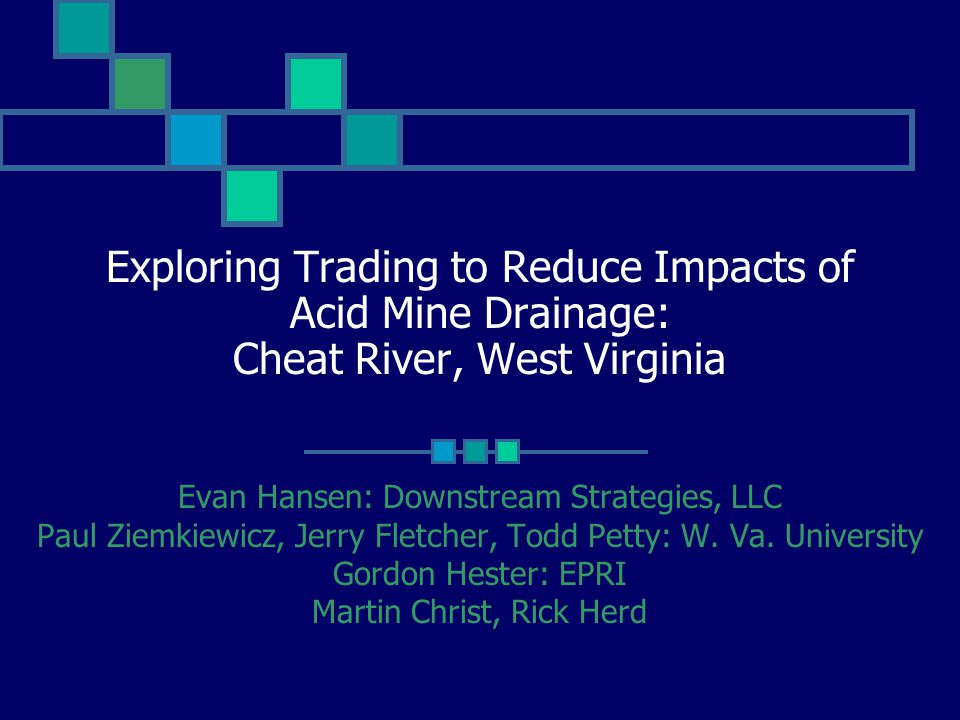 Exploring Trading to Reduce Impacts of Acid Mine Drainage: Cheat River, West Virginia Evan Hansen: Downstream Strategies, LLC Paul Ziemkiewicz, Jerry Fletcher, Todd Petty: W.