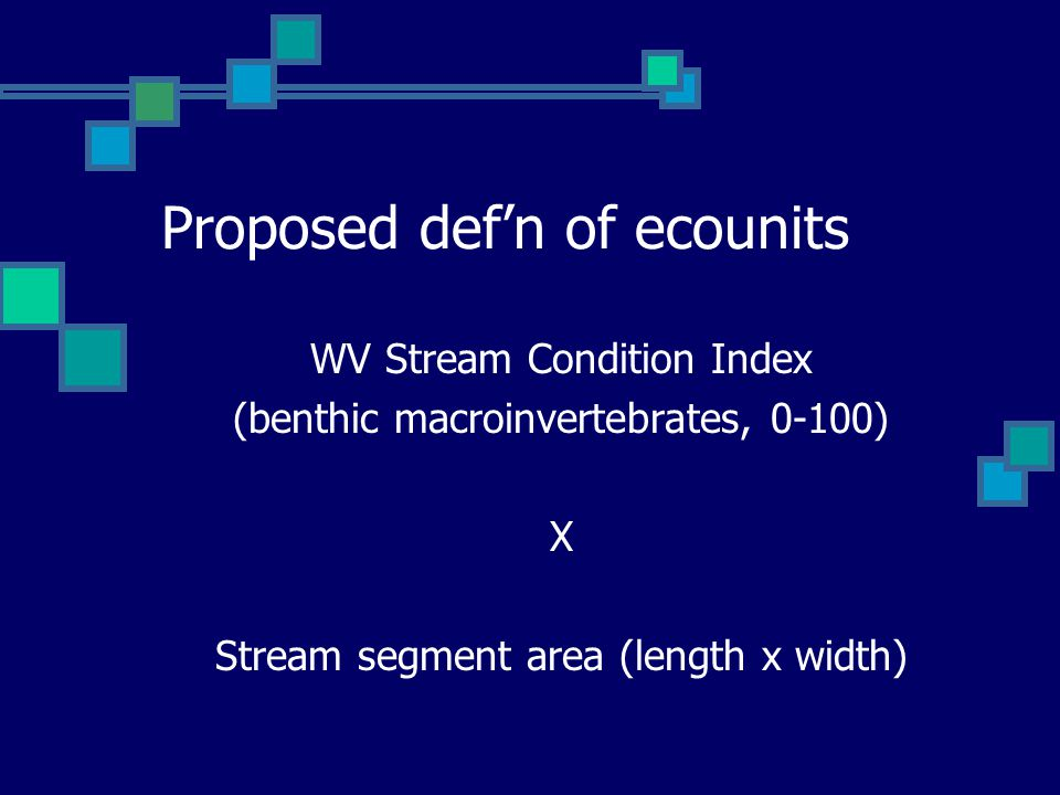 Proposed def'n of ecounits WV Stream Condition Index (benthic macroinvertebrates, 0-100) X Stream segment area (length x width)