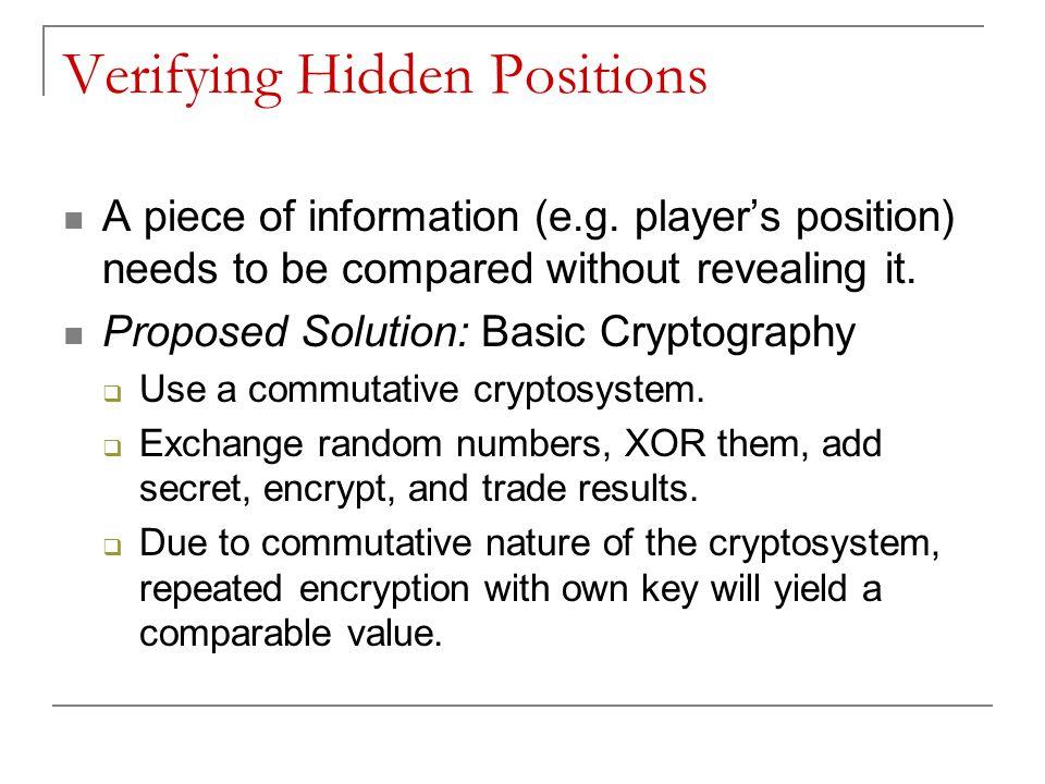 Verifying Hidden Positions A piece of information (e.g.