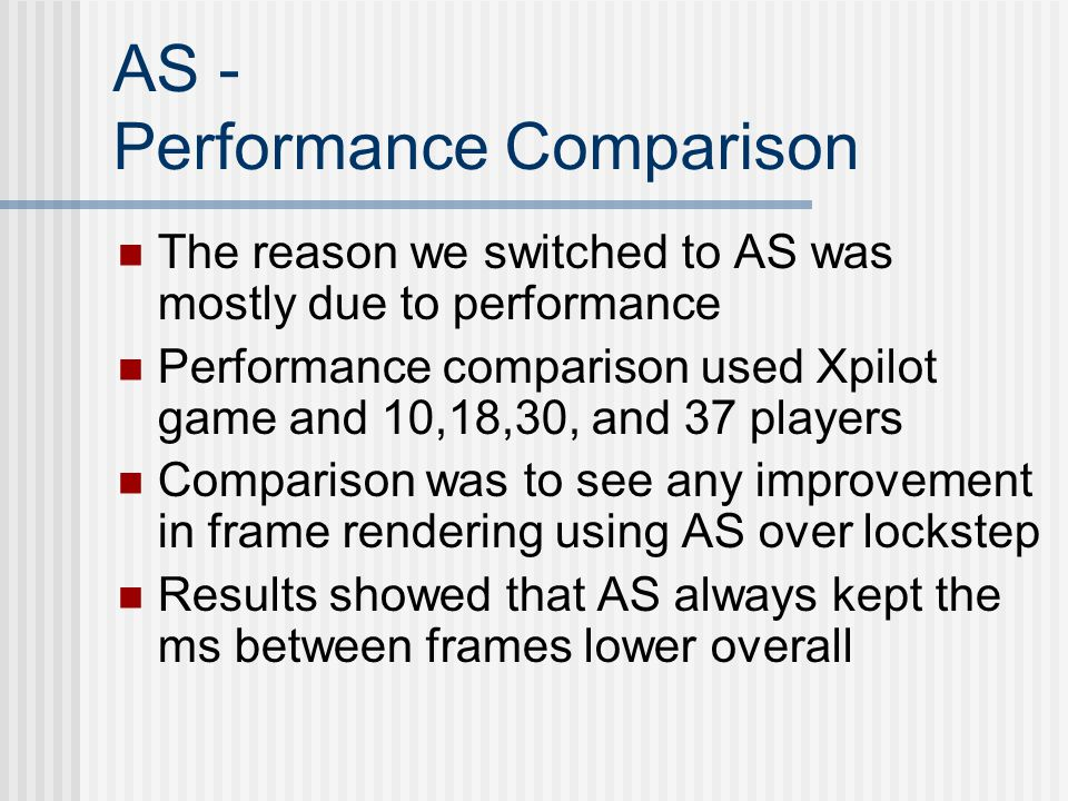 AS - Performance Comparison The reason we switched to AS was mostly due to performance Performance comparison used Xpilot game and 10,18,30, and 37 players Comparison was to see any improvement in frame rendering using AS over lockstep Results showed that AS always kept the ms between frames lower overall