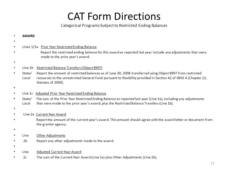 CAT Form Directions Categorical Programs Subject to Restricted Ending Balances AWARD Lines 1/1a Prior Year Restricted Ending Balance Report the restricted ending balance for this award as reported last year.