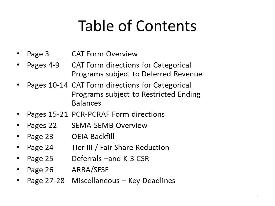 CAT Form Directions Categorical Programs Subject to Restricted Ending Balances REVENUES Line 5 Cash Received in Current Year Report the amount of the current year s award received.