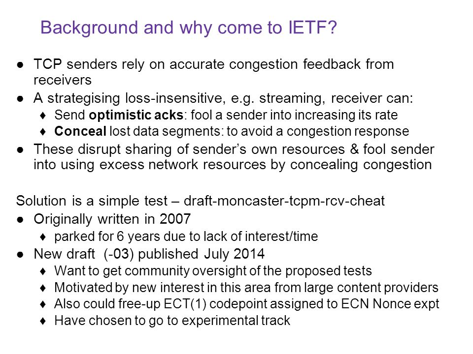 Background and why come to IETF.