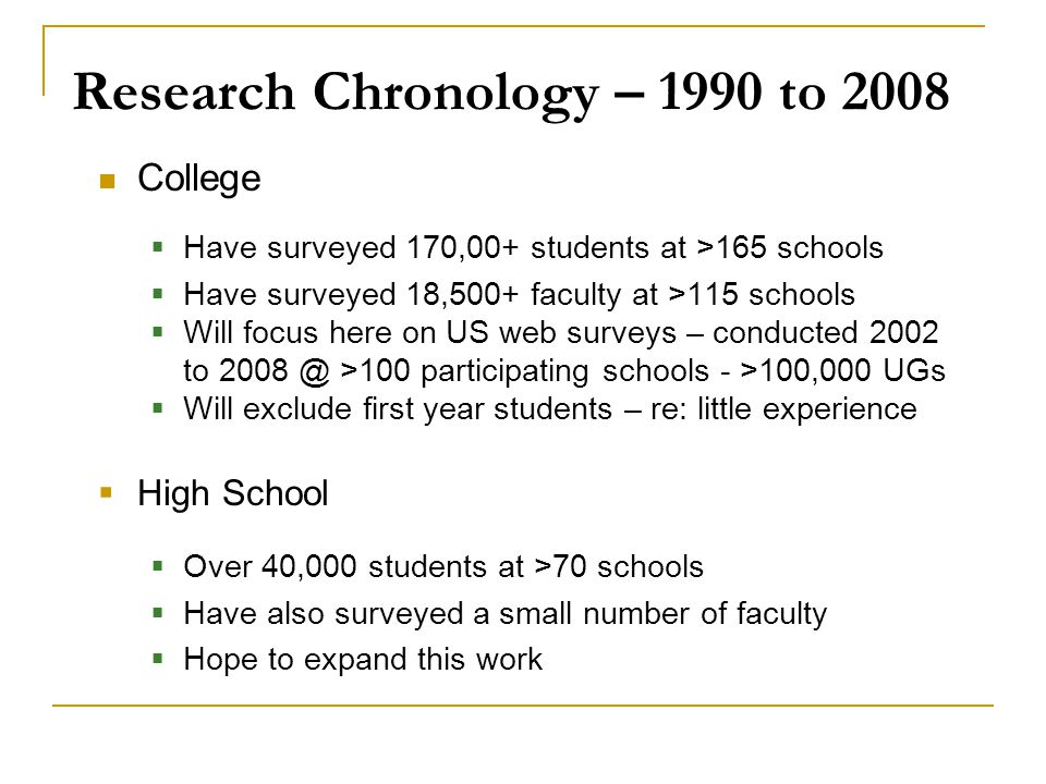Research Chronology – 1990 to 2008 College  Have surveyed 170,00+ students at >165 schools  Have surveyed 18,500+ faculty at >115 schools  Will foc