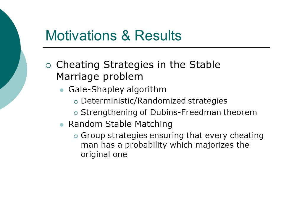 Motivations & Results  Cheating Strategies in the Stable Marriage problem Gale-Shapley algorithm  Deterministic/Randomized strategies  Strengthening of Dubins-Freedman theorem Random Stable Matching  Group strategies ensuring that every cheating man has a probability which majorizes the original one