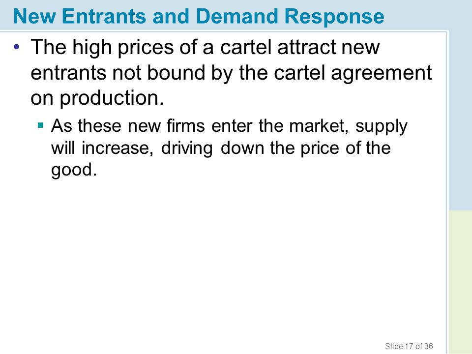 Slide 17 of 36 New Entrants and Demand Response The high prices of a cartel attract new entrants not bound by the cartel agreement on production.  As
