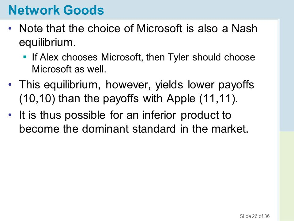 Slide 26 of 36 Network Goods Note that the choice of Microsoft is also a Nash equilibrium.  If Alex chooses Microsoft, then Tyler should choose Micro