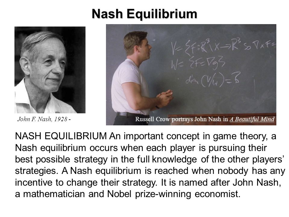 Prisoner's Dilemma An illustration of Nash Equilibrium Art's Strategies Bob's Strategies Confess Deny Confess Deny 10 yrs.