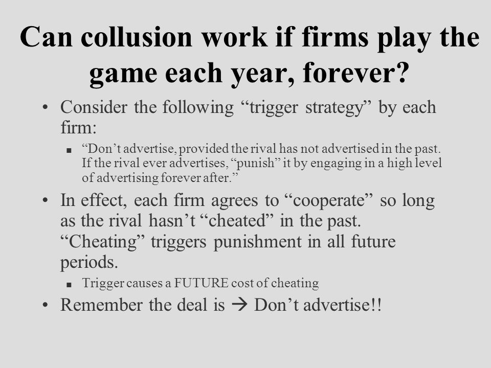 "Can collusion work if firms play the game each year, forever? Consider the following ""trigger strategy"" by each firm: n ""Don't advertise, provided the"