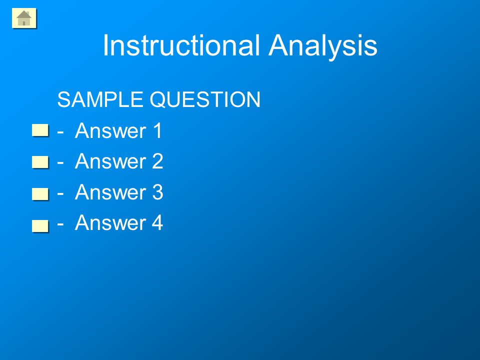 Identify Instructional Goals SAMPLE QUESTION -Answer 1 -Answer 2 -Answer 3 -Answer 4