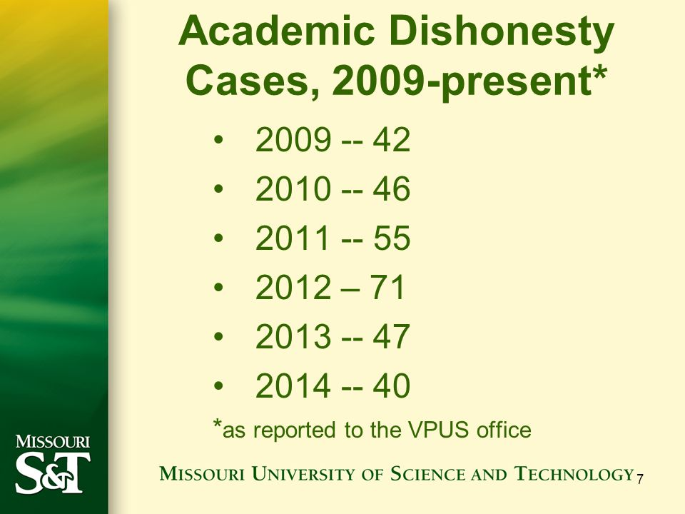 Academic Dishonesty Cases, 2009-present* 2009 -- 42 2010 -- 46 2011 -- 55 2012 – 71 2013 -- 47 2014 -- 40 * as reported to the VPUS office 7