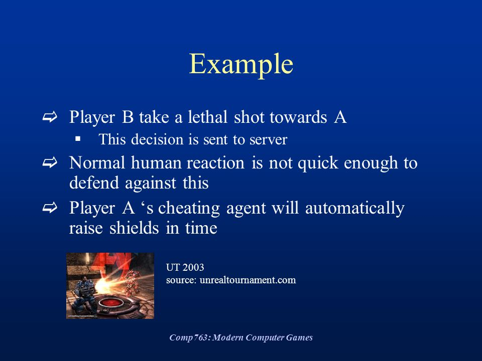 Comp763: Modern Computer Games Example  Player B take a lethal shot towards A  This decision is sent to server  Normal human reaction is not quick