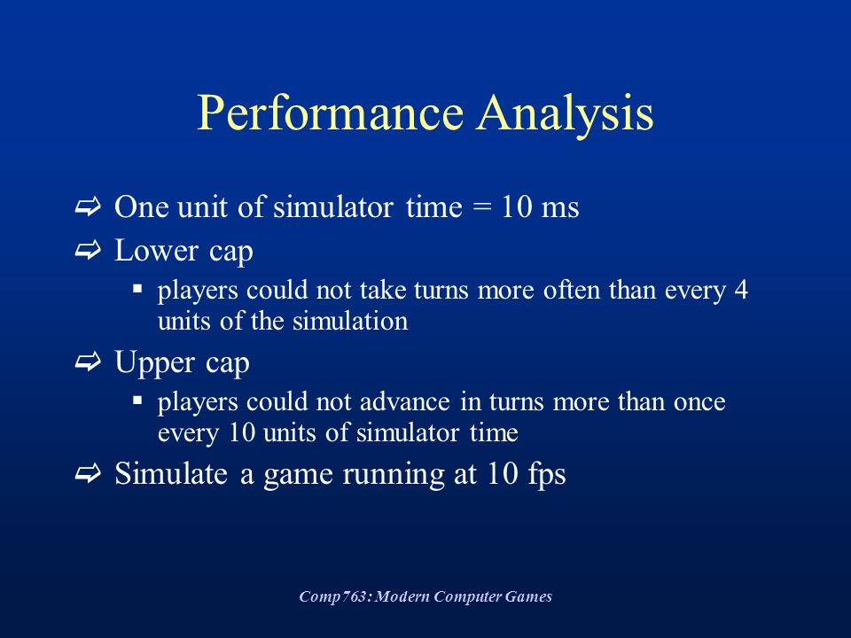 Comp763: Modern Computer Games Performance Analysis  One unit of simulator time = 10 ms  Lower cap  players could not take turns more often than every 4 units of the simulation  Upper cap  players could not advance in turns more than once every 10 units of simulator time  Simulate a game running at 10 fps