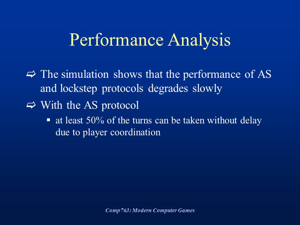 Comp763: Modern Computer Games Performance Analysis  The simulation shows that the performance of AS and lockstep protocols degrades slowly  With the AS protocol  at least 50% of the turns can be taken without delay due to player coordination