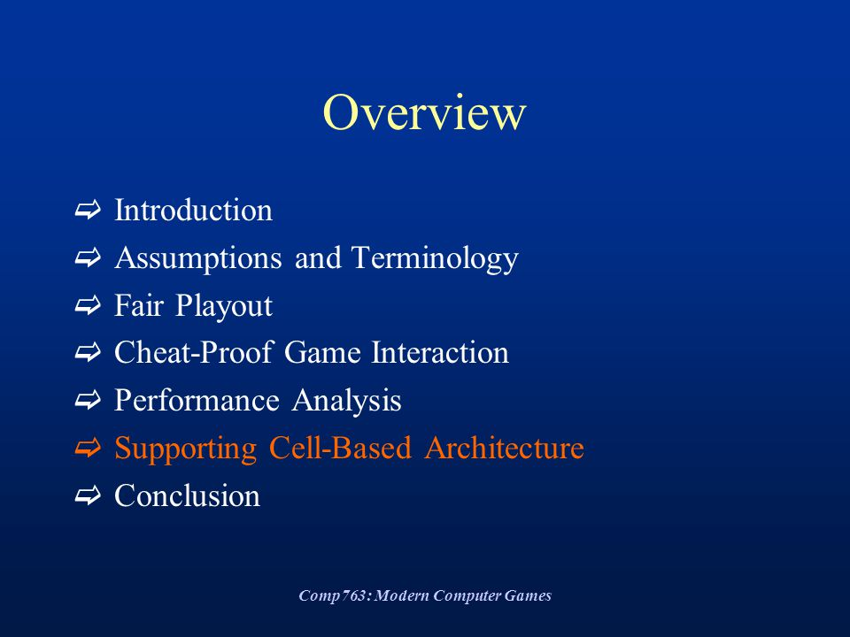Comp763: Modern Computer Games Overview  Introduction  Assumptions and Terminology  Fair Playout  Cheat-Proof Game Interaction  Performance Analy