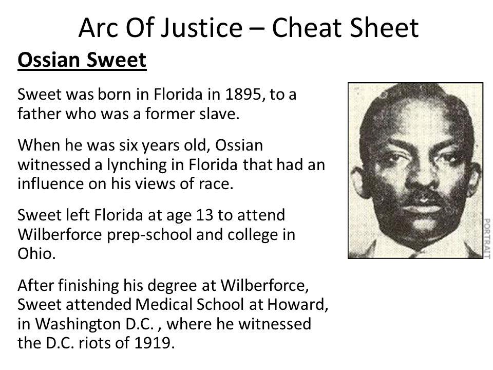 Arc Of Justice – Cheat Sheet Ossian Sweet Sweet was born in Florida in 1895, to a father who was a former slave.