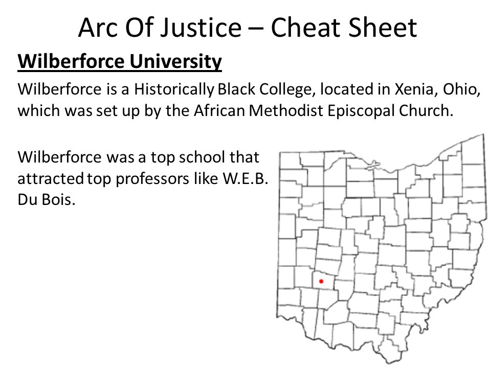 Arc Of Justice – Cheat Sheet Wilberforce University Wilberforce is a Historically Black College, located in Xenia, Ohio, which was set up by the African Methodist Episcopal Church.