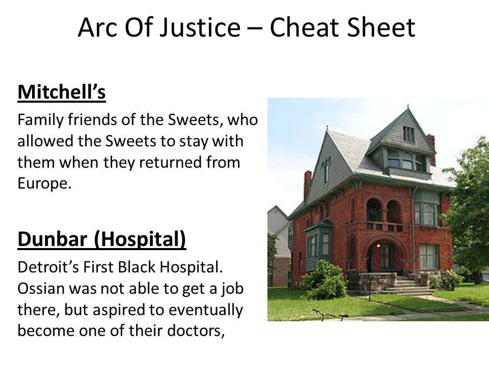 Arc Of Justice – Cheat Sheet Mitchell's Family friends of the Sweets, who allowed the Sweets to stay with them when they returned from Europe.