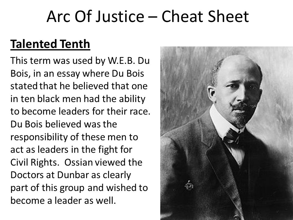 Arc Of Justice – Cheat Sheet Talented Tenth This term was used by W.E.B.