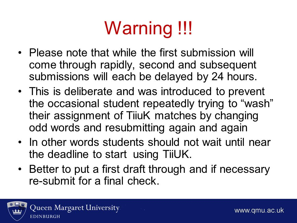 Warning !!! Please note that while the first submission will come through rapidly, second and subsequent submissions will each be delayed by 24 hours.