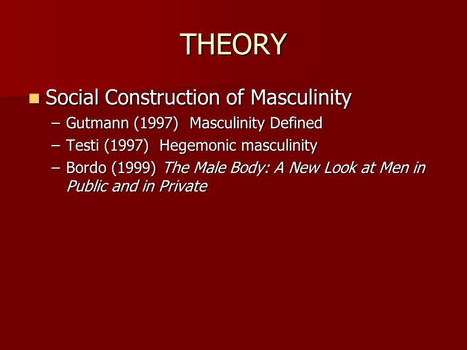 THEORY Social Construction of Masculinity Social Construction of Masculinity –Gutmann (1997) Masculinity Defined –Testi (1997) Hegemonic masculinity –