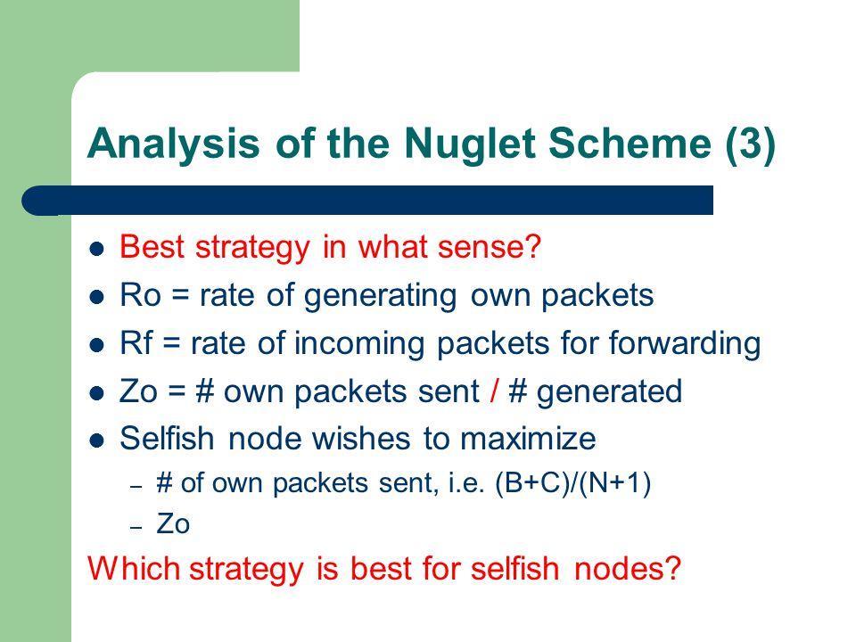 Analysis of the Nuglet Scheme (3) Best strategy in what sense.